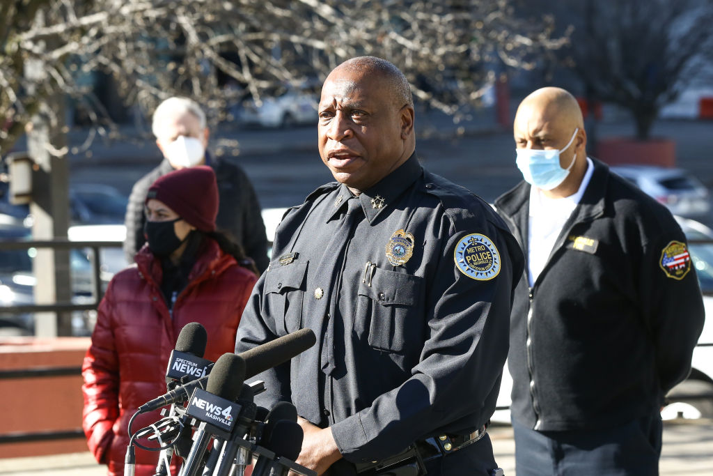 "NASHVILLE, TENNESSEE - DECEMBER 26: Nashville Police Chief John Drake speaks during a news conference on the Christmas day bombing on December 26, 2020 in Nashville, Tennessee. Police are calling the explosion ""an intentional act"" and have found possible human remains after an RV, exploded on Christmas day injuring three people and causing destruction across several blocks in Nashville. (Photo by Terry Wyatt/Getty Images)"