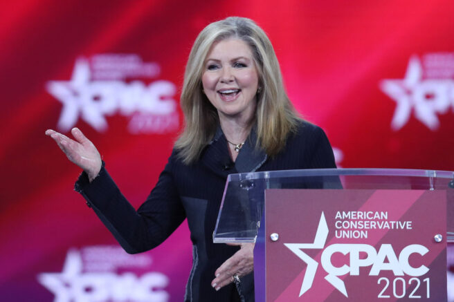 ORLANDO, FLORIDA - FEBRUARY 26: Sen. Marsha Blackburn (R-TN) addresses the Conservative Political Action Conference being held in the Hyatt Regency on February 26, 2021 in Orlando, Florida. Begun in 1974, CPAC brings together conservative organizations, activists, and world leaders to discuss issues important to them. (Photo by Joe Raedle/Getty Images)