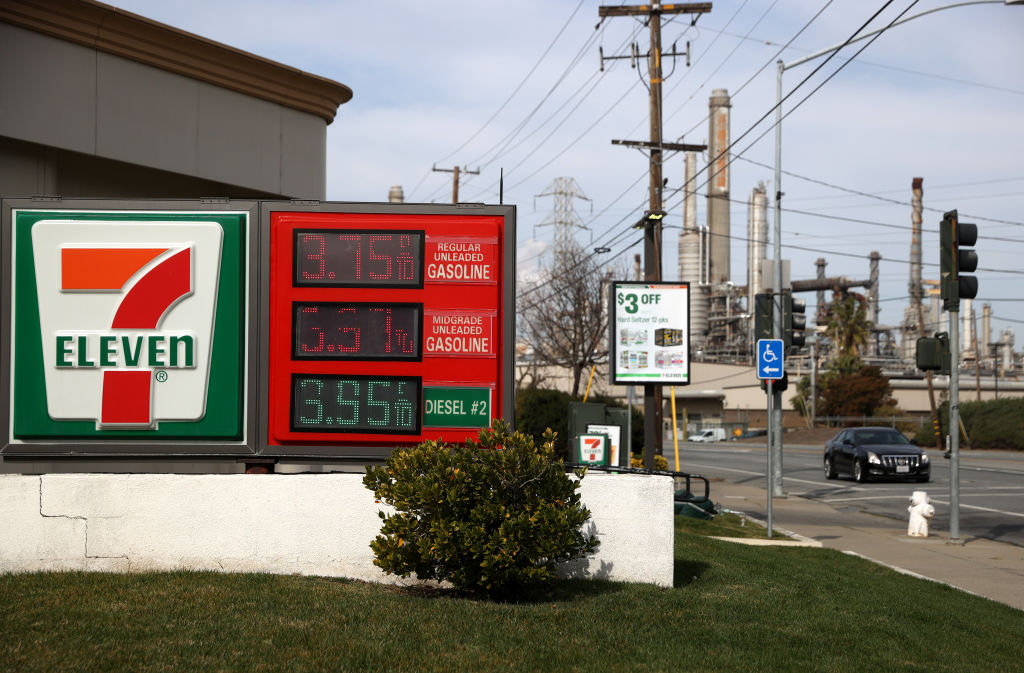MARTINEZ, CALIFORNIA - MARCH 3: Gas prices are displayed at a 7-11 gas station in front of the Shell refinery on March 3, 2021 in Martinez, California.  Gasoline prices have risen in the United States to a national average of $ 2.72 per gallon, an increase of 30 cents from a month ago.  Gasoline in California has an average price of $ 3.68 per gallon, the highest in the country.  (Photo by Justin Sullivan / Getty Images)