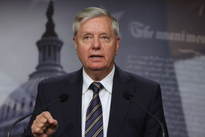 WASHINGTON, DC - MARCH 05: U.S. Sen. Lindsey Graham (R-SC) speaks during a news conference at the U.S. Capitol on March 5, 2021 in Washington, DC. The Senate continues to debate the latest COVID-19 relief bill. (Photo by Alex Wong/Getty Images)