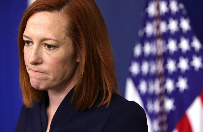 WASHINGTON, DC - MARCH 10: White House Press Secretary Jen Psaki pauses during a daily press briefing at the James Brady Press Briefing Room of the White House March 10, 2021 in Washington, DC. Psaki held a briefing to answer questions from members of the press. (Photo by Alex Wong/Getty Images)