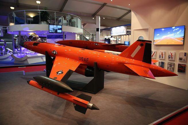 FARNBOROUGH, ENGLAND - JULY 16: A  BQM-167A high-performance remote-controlled aerial target drone, used by the U.S. air force is displayed on day four of the Farnborough International Airshow on July 16, 2014 in Farnborough, England. The Farnborough International Airshow is the biggest event of it's kind attracting people from all over the world.  (Photo by Dan Kitwood/Getty Images)