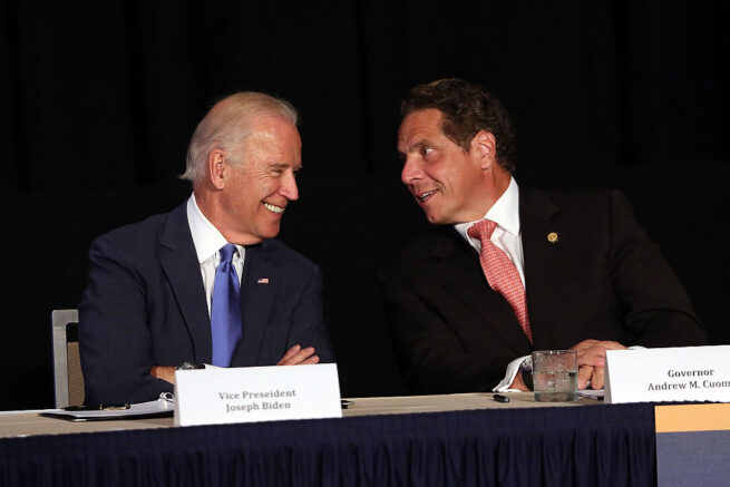 NEW YORK, NY - JULY 27: Vice President Joe Biden (L) appears with New York Gov. Andrew Cuomo to unveil plans for new area infrastructure projects on July 27, 2015 in New York City. The highlight of the event was an announcement that a new LaGuardia airport will be built, with construction starting next year. The new facility will will feature state-of-the-art security, transportation and shopping and dining options. The project is estimated to bring 8,000 new jobs to the area. (Photo by Spencer Platt/Getty Images)