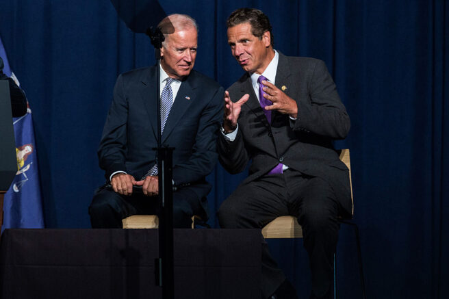 NEW YORK, NY - SEPTEMBER 10:  U.S. Vice President Joe Biden and New York Governor Andrew Cuomo attend a political rally announcing their support to raise the minimum wage for the state of New York to $15 per hour on September 10, 2015 in New York City. U.S. Vice President Joe Biden also said he would like to see the federal minimum wage risen to $12 per hour.  (Photo by Andrew Burton/Getty Images)