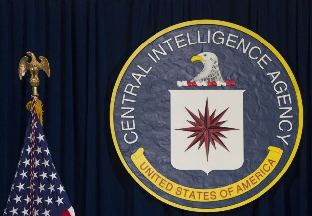 The seal of the Central Intelligence Agency (CIA) is seen at CIA Headquarters in Langley, Virginia, April 13, 2016. (Photo by SAUL LOEB / AFP) (Photo by SAUL LOEB/AFP via Getty Images)