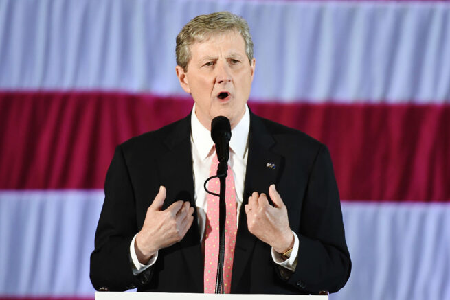 "Louisiana Treasurer and Republican Senate candidate John Kennedy speaks at a ""get-out-the-vote"" rally with US President-elect Donald Trump on December 9, 2016 in Baton Rouge, Louisiana. / AFP / DON EMMERT        (Photo credit should read DON EMMERT/AFP via Getty Images)"