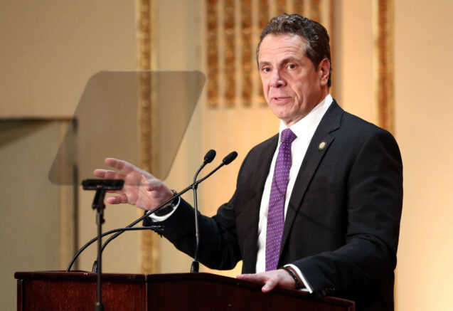 NEW YORK, NY - MARCH 16: Governor of New York State Andrew Cuomo speaks on stage at the HELP USA 30th Anniversary Event at The Plaza Hotel on March 16, 2017 in New York City. (Photo by Monica Schipper/Getty Images)