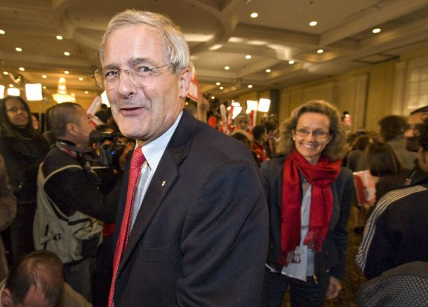 "Marc Garneau and is wife attend the the Liberal gathering October 14, 2008 in St. Laurent, Montreal, Quebec, Canada.  Canadians elected for the status quo amid economic uncertainty, choosing to ""stay the course"" with Prime Minister Stephen Harper's Conservatives in a third election in four years.  AFP PHOTO / ROGERIO BARBOSA (Photo credit should read ROGERIO BARBOSA/AFP via Getty Images)"
