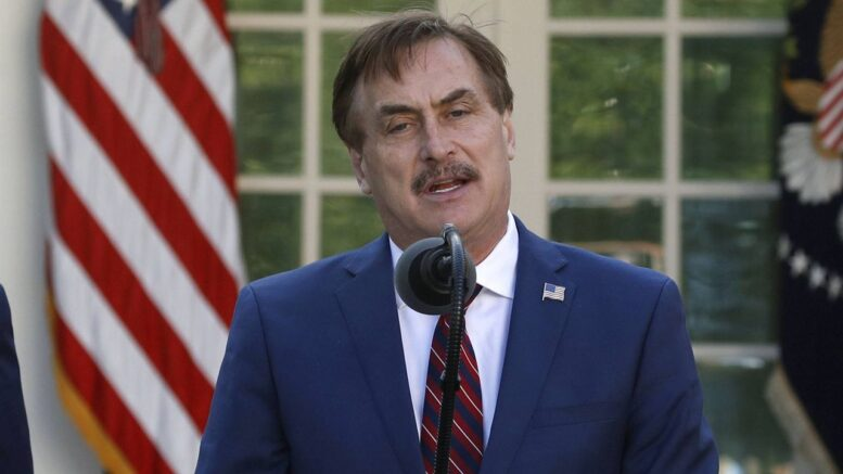 FILE - In this March 30, 2020 file photo, My Pillow CEO Mike Lindell speaks in the Rose Garden of the White House in Washington. Dominion Voting Systems filed a $1.3 billion defamation lawsuit Monday, Feb. 22, 2021, against Lindell, the founder and CEO of Minnesota-based MyPillow, saying that Lindell falsely accused the company of rigging the 2020 presidential election. (AP Photo/Alex Brandon File)