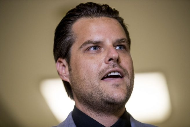 Rep. Matt Gaetz, R-Fla., speaks to members of the media following a House Judiciary Committee closed door meeting with former federal prosecutor for the Southern District of New York Geoffrey Berman on Capitol Hill, Thursday, July 9, 2020, in Washington. (AP Photo/Andrew Harnik)
