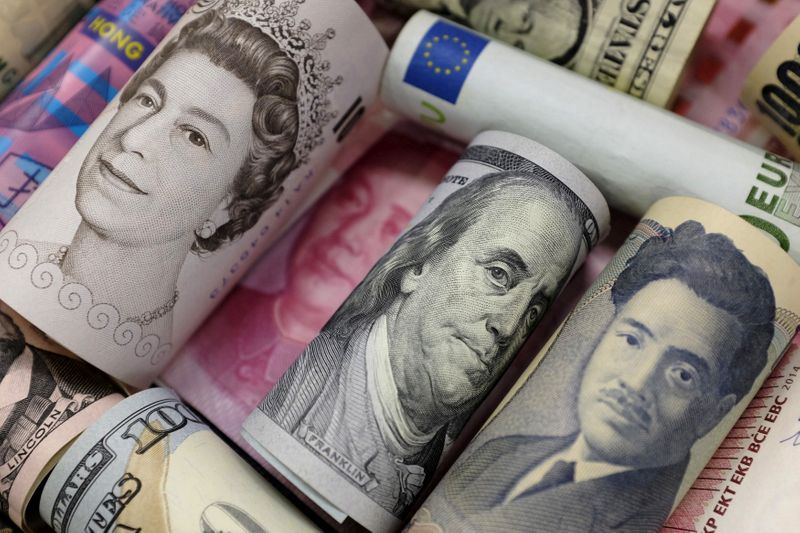 FILE PHOTO: Banknotes of Euro, Hong Kong dollar, U.S. dollar, Japanese yen, GB pound and Chinese 100 yuan are seen in this picture illustration, in Beijing