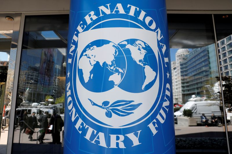FILE PHOTO: International Monetary Fund logo is seen outside the headquarters building