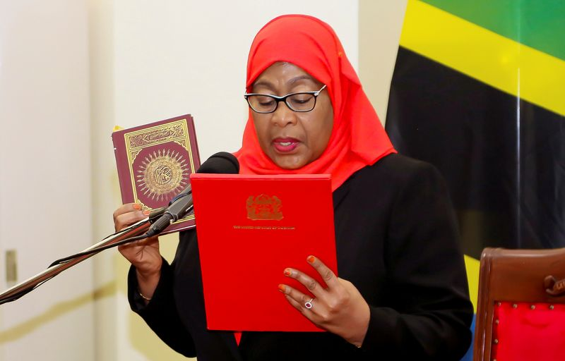 FILE PHOTO: Tanzania's new President Samia Suluhu Hassan takes oath of office following the death of her predecessor John Pombe Magufuli at State House in Dar es Salaam