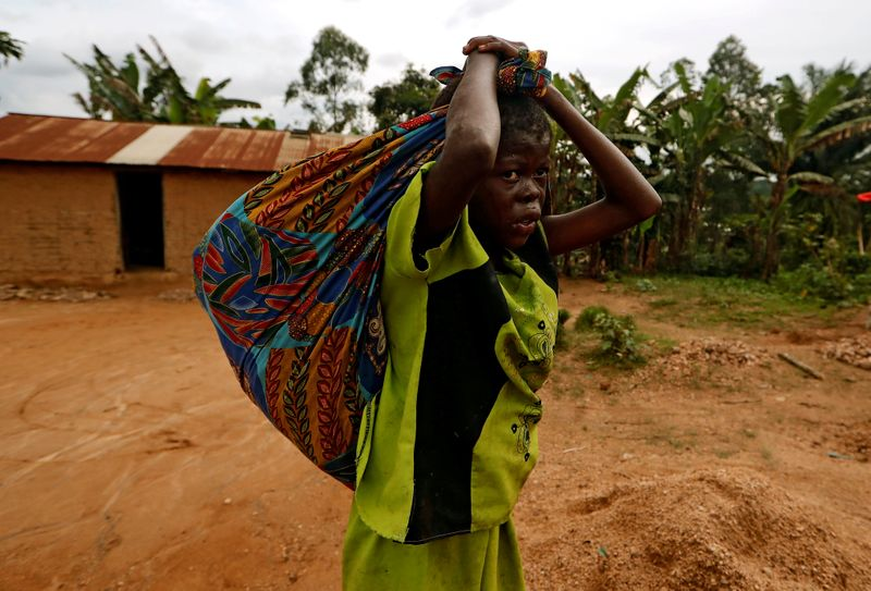 FILE PHOTO: A girl carries cassava leaves on her back as she walks back home from the field in Beni