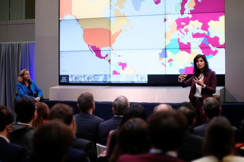 FILE PHOTO: Spanish Economy Minister Nadia Calvino and International Monetary Fund Chief Economist Gita Gopinath take questions at the annual meetings of the IMF and World Bank in Washington