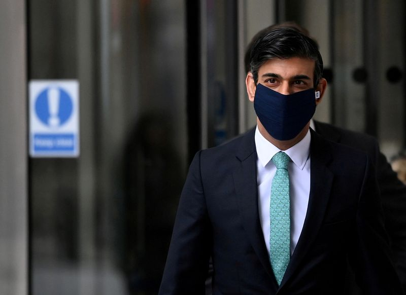 FILE PHOTO: Britain's Chancellor Sunak leaves after appearing on BBC TV's The Andrew Marr Show, in London