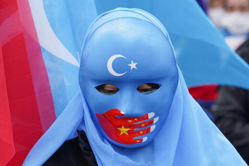 FILE PHOTO: Protest against Chinese State Councillor and Foreign Minister Yi's visit, in Istanbul