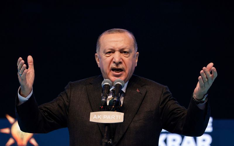 FILE PHOTO: Turkish President Tayyip Erdogan attends the Grand Congress of his ruling AK Party in Ankara