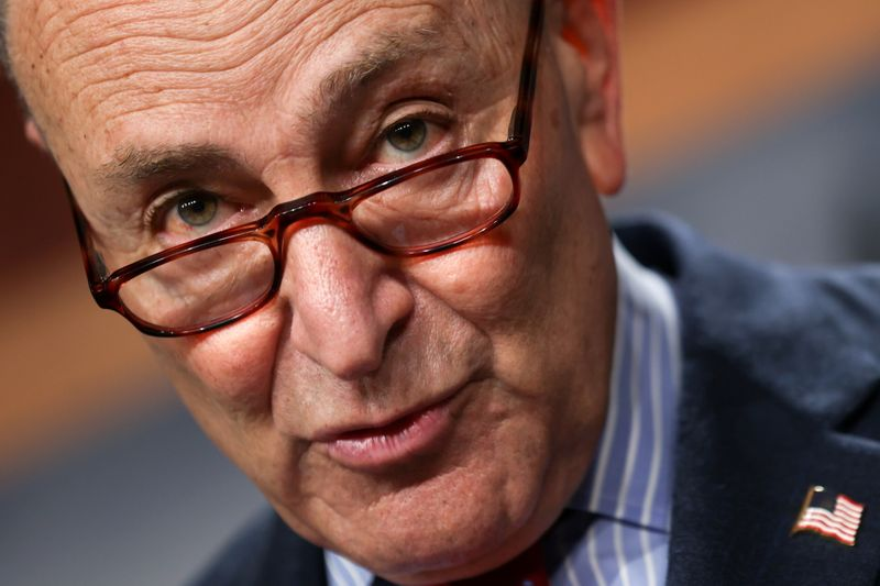 U.S. Senate Majority Leader Schumer holds news conference at the U.S. Capitol in Washington