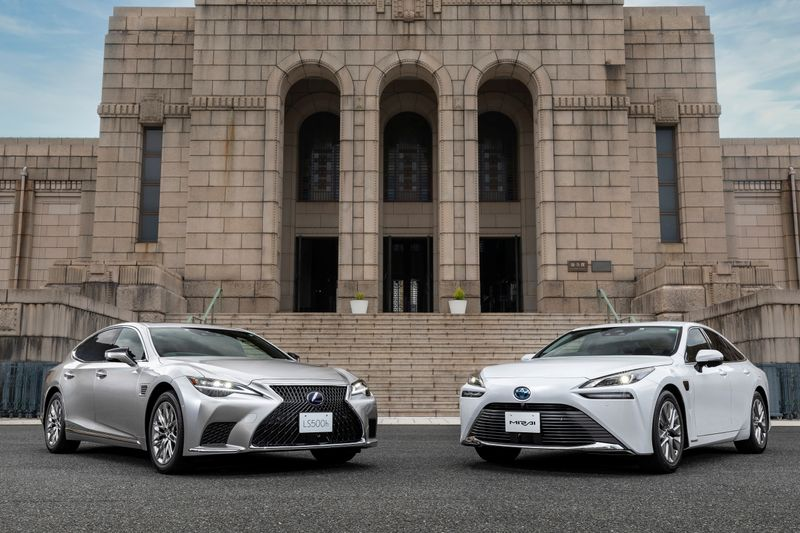 Lexus LS and Toyota Mirai cars in front of the Meiji Memorial Picture Gallery in Shinjuku, Tokyo in this undated handout photo