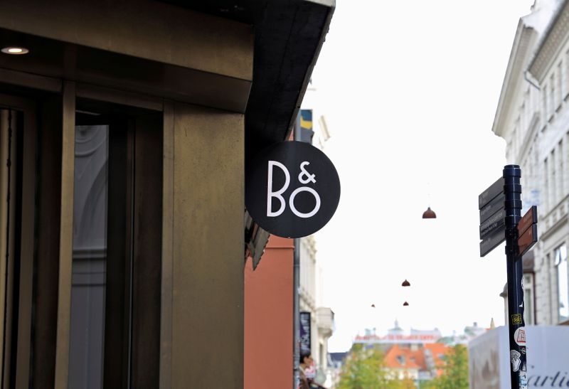 FILE PHOTO: Bang & Olufsen's sign is seen at their flagship store in Copenhagen