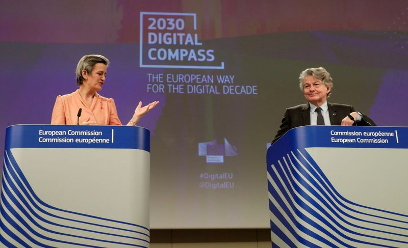 FILE PHOTO: EU Commission presser on 2030 Digital Compass in Brussels