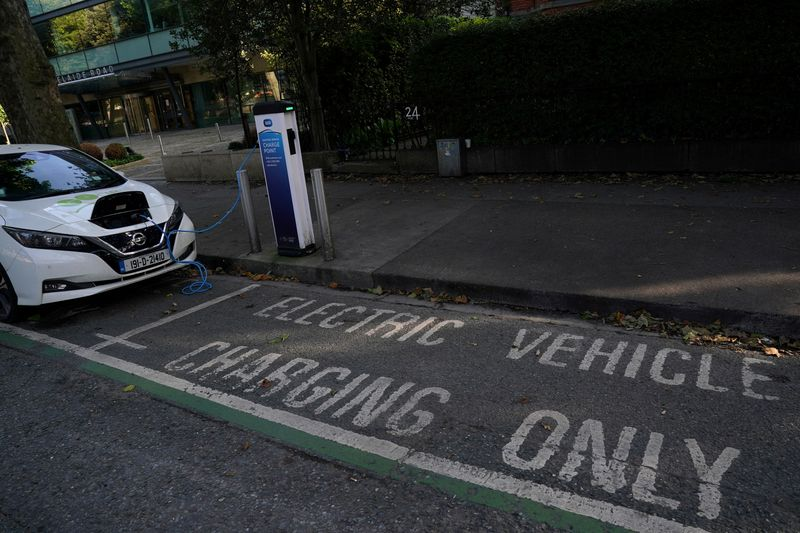 FILE PHOTO: An ESB (Electricity Supply Board) electric vehicle charge point is seen in use in Dublin