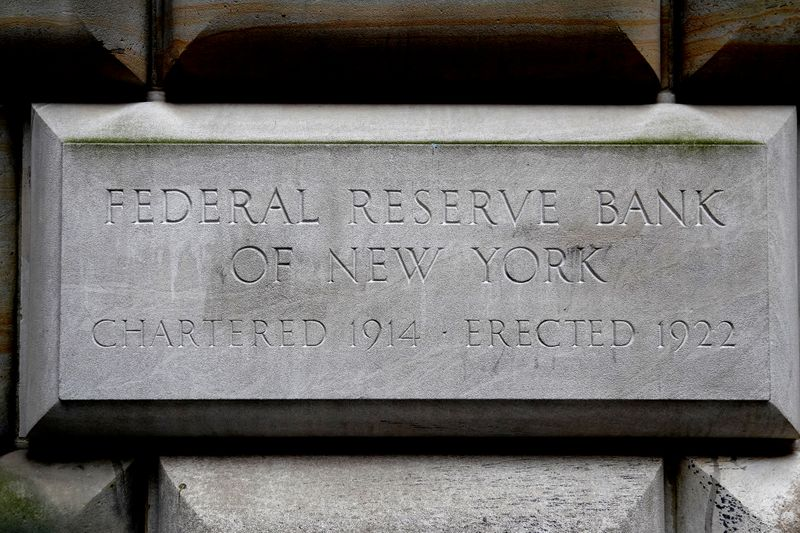 The cornerstone for the Federal Reserve Bank of New York is pictured in the Manhattan borough of New York City