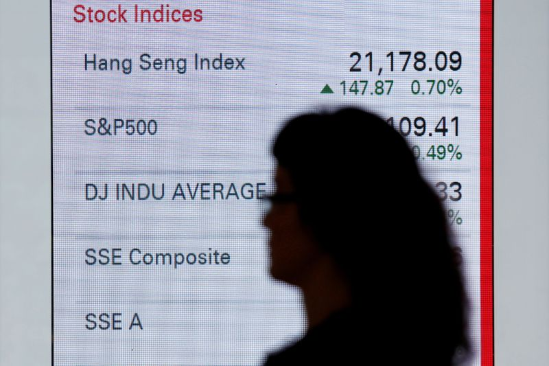 FILE PHOTO: A woman walks past a panel displaying stock indices of various markets in Hong Kong