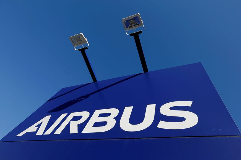 FILE PHOTO: FILE PHOTO: The Airbus logo pictured at the company's headquarters in Blagnac near Toulouse