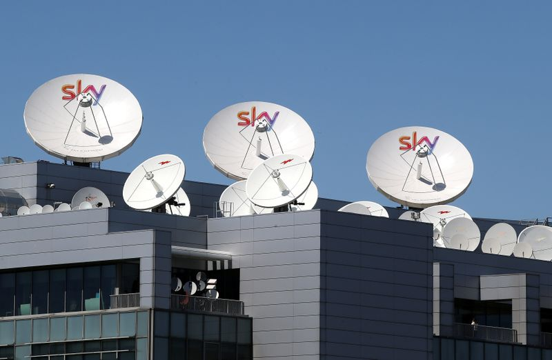 Sky parabolic antennas  are seen on roof of the Sky Italia buildings on the outskirts of Milan