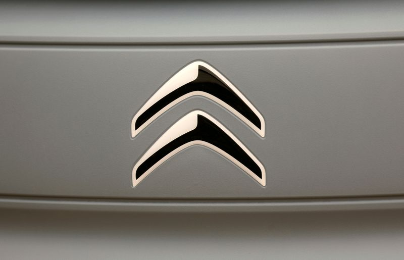 FILE PHOTO: The logo of Citroen is seen on a new electric car AMI during a media presentation in Paris