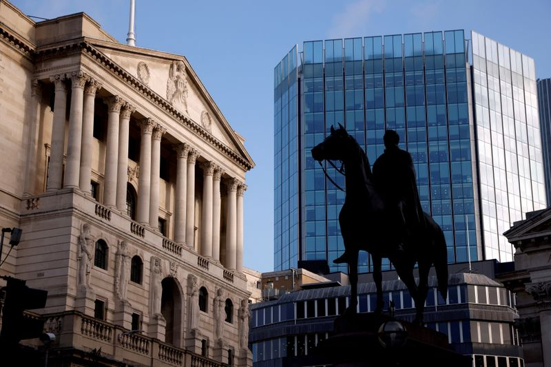 FILE PHOTO: A general view of the Bank of England in the City of London financial district, London, Britain