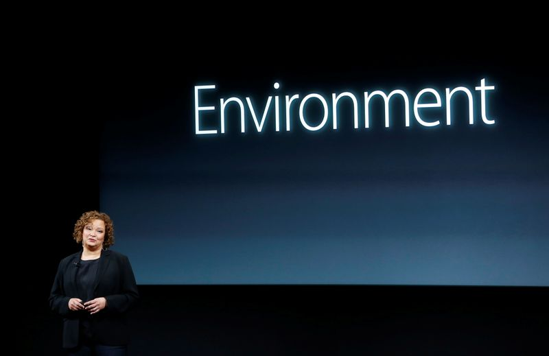 FILE PHOTO: Lisa Jackson, Apple vice president for Environment, Policy and Social Initiatives, speaks during an event at Apple headquarters in Cupertino, California