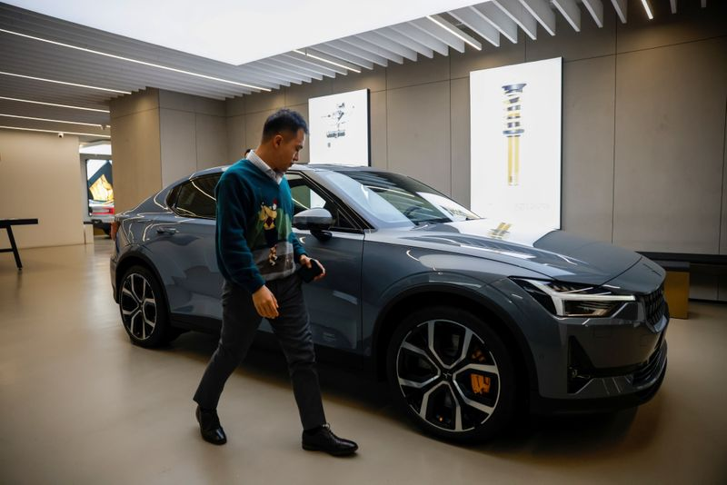FILE PHOTO: The Polestar 2 electric car is displayed at a company store in Shanghai
