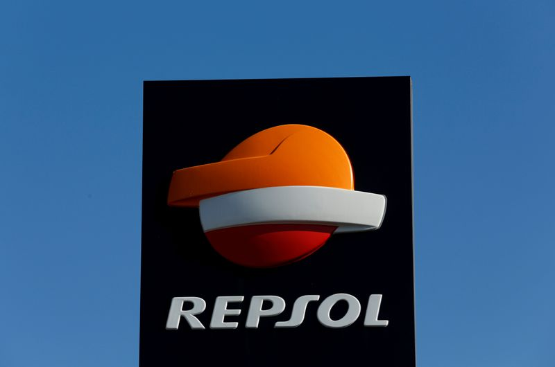 FILE PHOTO: A Repsol logo at a petrol station in Bormujos near Seville, southern Spain
