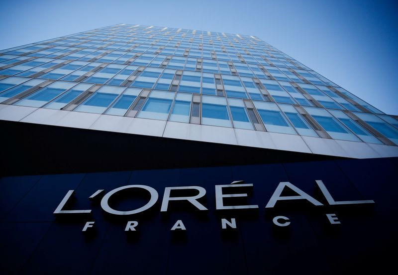 FILE PHOTO: The logo of French cosmetics group L'Oreal in the western Paris suburb of Levallois-Perret