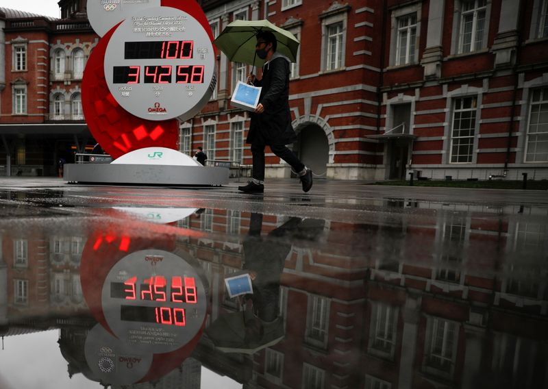 FILE PHOTO: A countdown clock showing that 100 days are left until Tokyo 2020 Olympic Games is reflected in a puddle in Tokyo