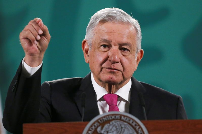 Mexico's President Andres Manuel Lopez Obrador speaks during a news conference at the National Palace in Mexico City