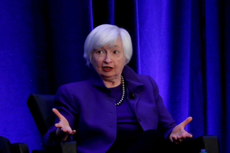 FILE PHOTO: Janet Yellen, now U.S. Treasury secretary, speaks during a panel discussion in Atlanta in 2019
