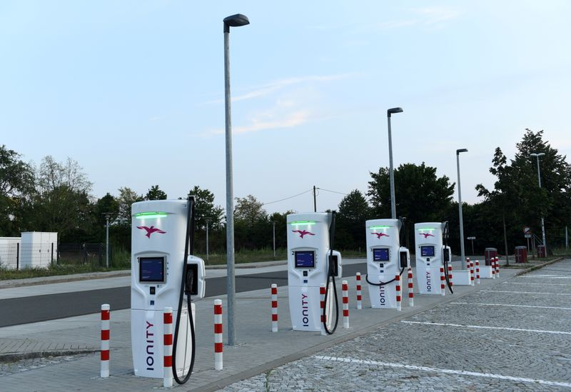 FILE PHOTO: An electric vehicle charging station is seen on a motorway service station near Dresden