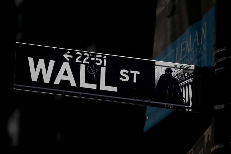 FILE PHOTO: A Wall St. street sign is seen near the NYSE in New YorkNYSE in New York