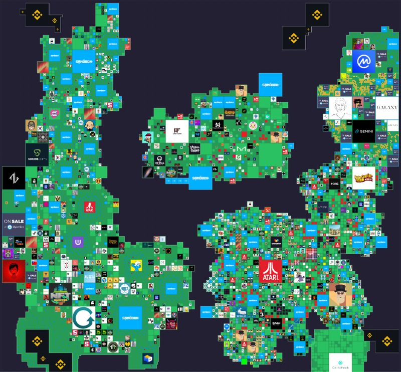 Map of the lands within The Sandbox gaming virtual world