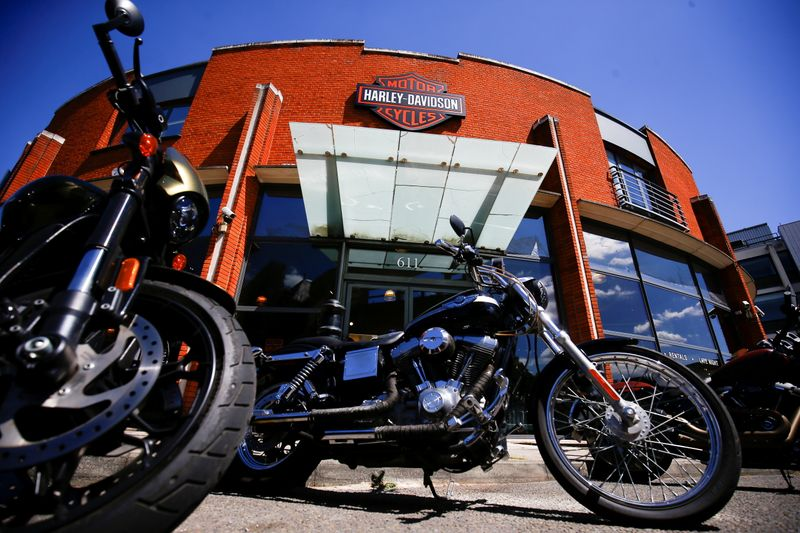 FILE PHOTO: Harley Davidson motorcycles are displayed for sale at a showroom in London