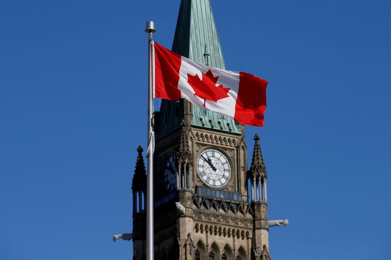 FILE PHOTO: FILE PHOTO: Canadian flag flies in front of the Peace Tower on Parliament Hill in Ottawa