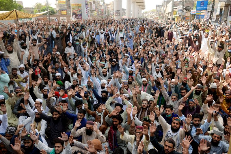 FILE PHOTO: Protest by the supporters of the banned Islamist political party Tehrik-e-Labaik Pakistan (TLP) in Lahore