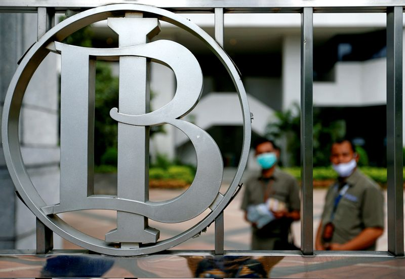 Bank Indonesia's logo is seen at Bank Indonesia headquarters