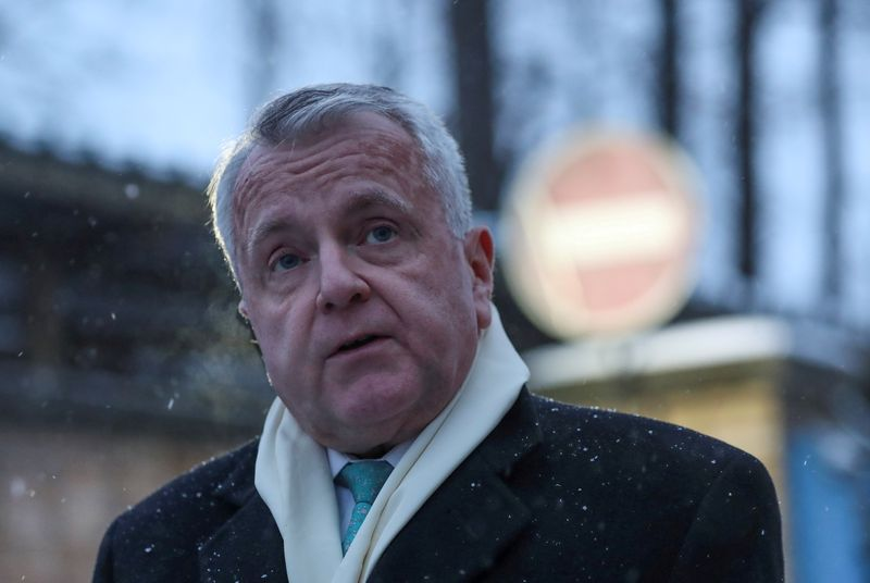 FILE PHOTO: U.S. ambassador to Russia John Sullivan speaks with journalists in Moscow