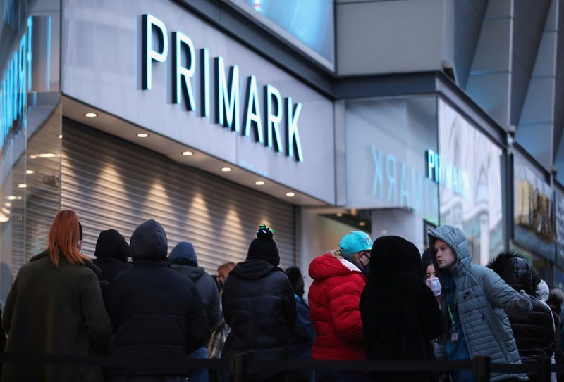 FILE PHOTO: The retail store Primark in Birmingham, Britain reopens its doors after a third lockdown imposed in early January due to the ongoing coronavirus disease (COVID-19) pandemic