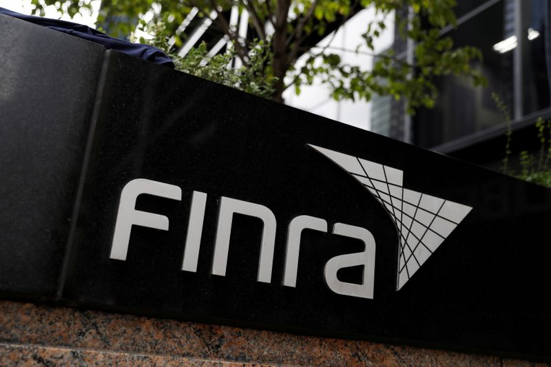 FILE PHOTO: Signage is seen outside of the Financial Industry Regulatory Authority (FINRA) offices in Manhattan, New York City